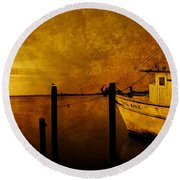 Peace In The Harbor Round Beach Towel
