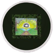 Peace Is Natural Round Beach Towel