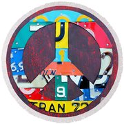 Peace License Plate Art Round Beach Towel