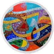 Peace Love And Hope Arabic Inspirational Calligraphy Round Beach Towel by Riad Belhimer