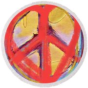 Peace Love  Art Round Beach Towel