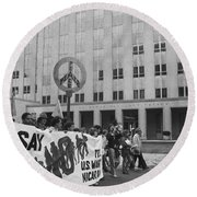 Peace March 1986 Round Beach Towel