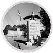 Peace Through Strength - Veterans War Memorial Round Beach Towel
