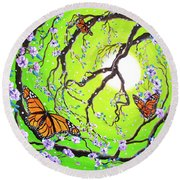 Peace Tree With Monarch Butterflies Round Beach Towel