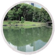 Peaceful Bridge In Tokyo Park Round Beach Towel