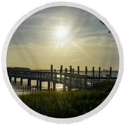 Peaceful Evening At Cooper River Round Beach Towel
