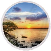 Peaceful Evening On The Waterway Round Beach Towel