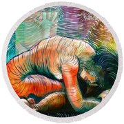 Peaceful Flow - Reclining Nude Round Beach Towel