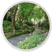 Peaceful Garden Path Round Beach Towel