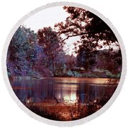 Peaceful In Infrared No1 Round Beach Towel