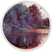 Peaceful In Infrared No2 Round Beach Towel