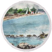 Peaceful Morning At The Harbor  Round Beach Towel