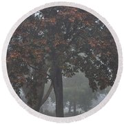 Peaceful Morning Mist Round Beach Towel