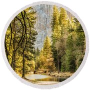 Peaceful Mountain River Round Beach Towel