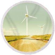 Peaceful Pastel Wind Farm Round Beach Towel