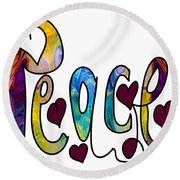 Peaceful Pasttimes Abstract Inspirational Art By Omaste Witkowsk Round Beach Towel