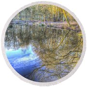 Peaceful Pond Reflections  Round Beach Towel
