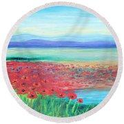 Peaceful Poppies Round Beach Towel