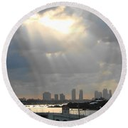 Peaceful Rays Of Sunshine Round Beach Towel