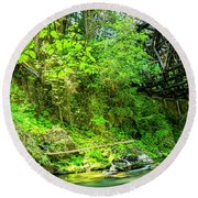 Peaceful Small Creek Under Kinsol Trestle, Vancouver Island, Bc, Canada 1. Round Beach Towel