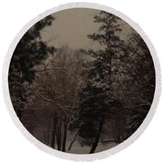 Peaceful Snow Dusk Round Beach Towel