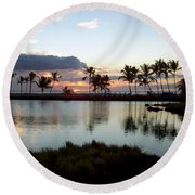 Peaceful Sunset Round Beach Towel