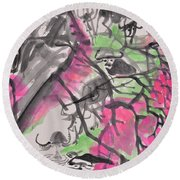 Peach Blossom And Water Buffalo Round Beach Towel