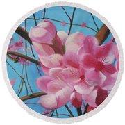 Peach Blossoms Round Beach Towel