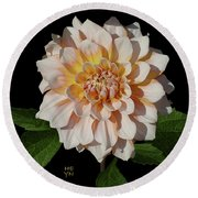 Peach-n-yellow Dahlia Cutout Round Beach Towel