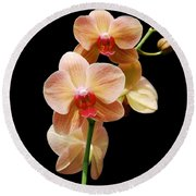 Peach Orchids Round Beach Towel