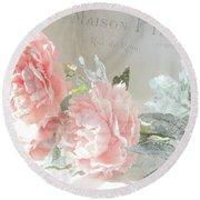 Peach Peonies Impressionistic Peony Floral Prints - French Impressionistic Peach Peony Prints Round Beach Towel