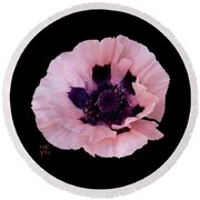 Peach Poppy - Cutout Round Beach Towel