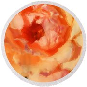Peach Rose - Digital Painting Round Beach Towel