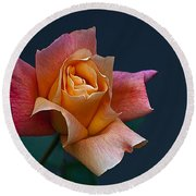Peach Rose Bud Round Beach Towel