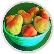 Peaches And Pears Round Beach Towel