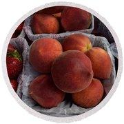 Peaches And Strawberries Round Beach Towel