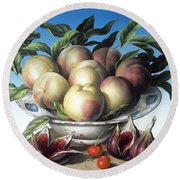 Peaches In Delft Bowl With Purple Figs Round Beach Towel
