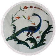 Peackok Round Beach Towel