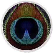 Peacock 1 Round Beach Towel