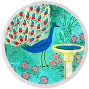 Peacock And Birdbath Round Beach Towel