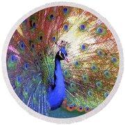 Peacock Beauty Colorful Art Round Beach Towel