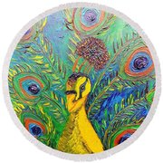 Peacock Blue Round Beach Towel