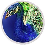 Peacock Blued Round Beach Towel