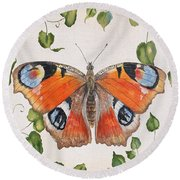 Peacock Butterfly-jp3878 Round Beach Towel