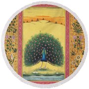 Peacock Dancing Painting Flower Bird Tree Forest Indian Miniature Painting Watercolor Artwork Round Beach Towel
