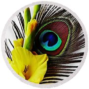 Peacock Feather And Gladiola 3 Round Beach Towel
