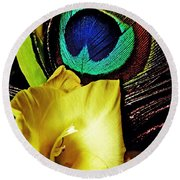 Peacock Feather And Gladiola Round Beach Towel