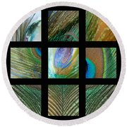 Peacock Feather Mosaic Round Beach Towel