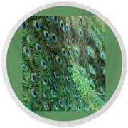 Peacock Feather Pattern Round Beach Towel