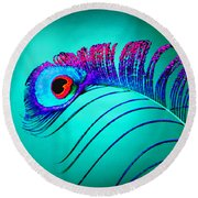 Peacock Feathers 5 Round Beach Towel